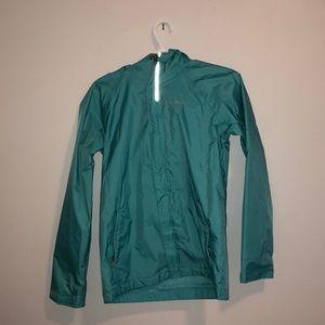 A teal Colombia rain coat